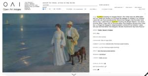 """Screenshot di un risultato della ricerca """"summer"""" su Open Art Images"""